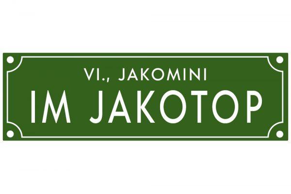 Café Jakomini Jakotop Straßenschild
