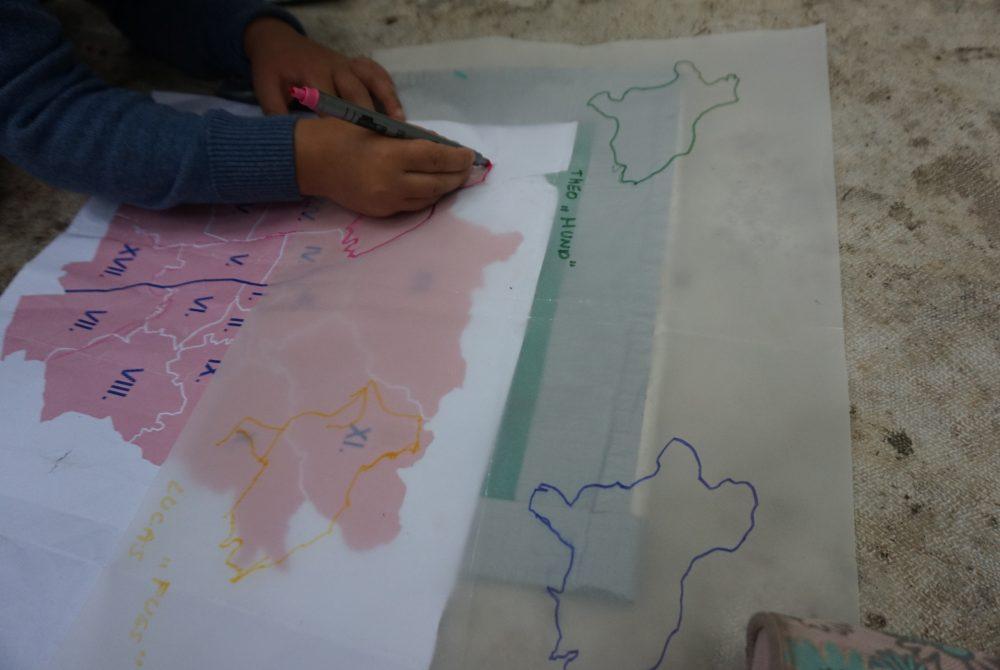Stadtteil-Forschungsreise für Kinder Zeichnung Elisabeth Gallaun-Enzinger